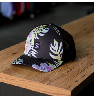BONÉ TRUCKER VOLCOM FORGET YOURSELF (PRETO/FLORAL)