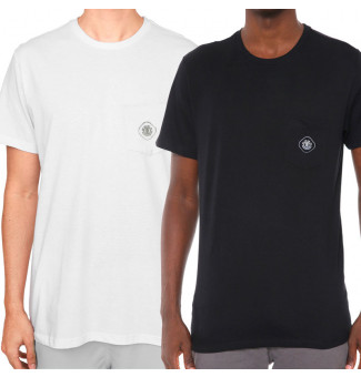Kit 2 Camisetas Element Minimal Pocket (Branco/Preto)