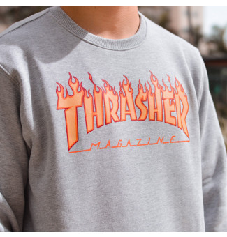 Moletom Careca Thrasher Flame (Cinza)