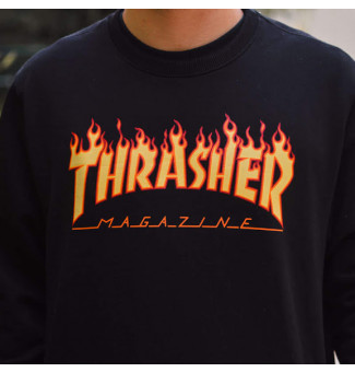 Moletom Careca Thrasher Flame Logo (Preto)