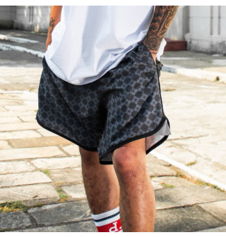SHORTS TACTEL DIAMOND CHECKERED CROSS (PRETO)