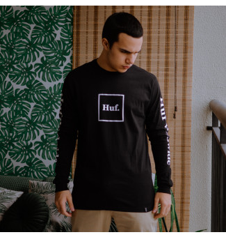 Camiseta HUF M/L Essentials Domestic Box (Preto)