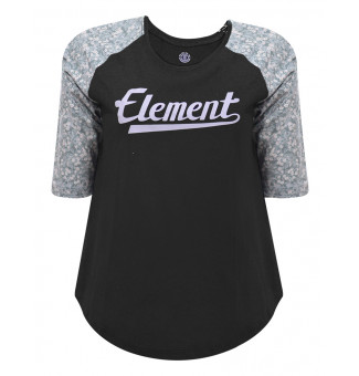 Raglan Fem Element White Flowers (Preto/Estampado)