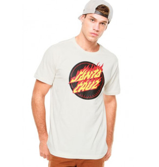 CAMISETA SANTA CRUZ FLAMING DOT FRONT (BRANCO)