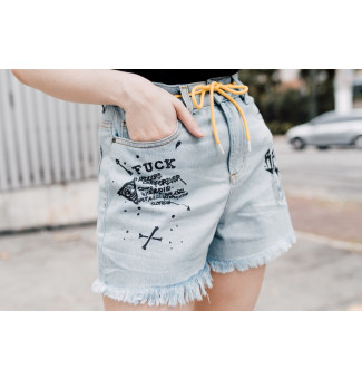 Shorts Brutal Kill Jeans Goat Of Death (Jeans Claro)